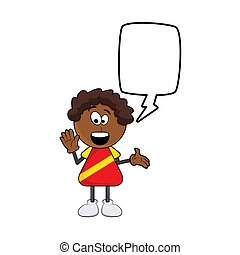 black african boy cartoon with speech bubble design isolated on white background