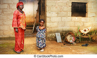 Black African little girl and mother - Black African little...