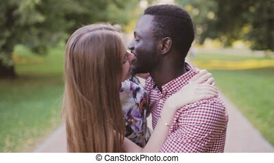 Black African man and white girl. Inter-ethnic love -...