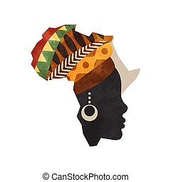 Black african woman africa map concept isolated