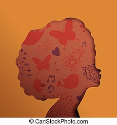 Black african woman face in paper cut cutout style