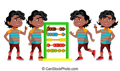 Black, Afro American Boy Kindergarten Kid Poses Set Vector. Little Children. Happiness Enjoyment. For Web, Brochure, Poster Design. Isolated Cartoon Illustration