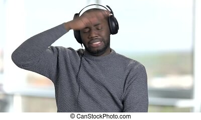 Black afro american man with headphones. Portrait black man...
