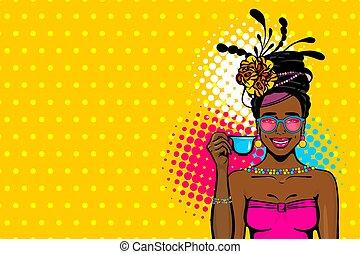 Black afro woman pop art drink tea - Black afro young woman ...