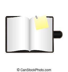 black agenda with big paper note