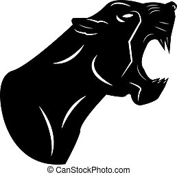 Black aggressive panther with open mouth, silhouette logo close-up on a white background