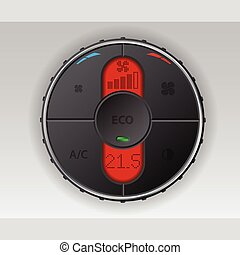 Black air condition gauge with red lcd