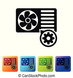 Black Air conditioner and gear icon isolated on white background. Adjusting app, service concept, setting options, maintenance, repair, fixing. Set icon in color square buttons. Vector Illustration