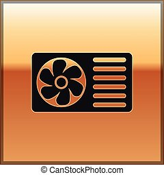 Black Air conditioner with fresh air icon isolated on gold background. Split system air conditioning sign. Cool and cold climate control system. Vector Illustration