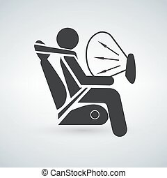 Black Airbag sign - Airbag sign vector illustration isolated...