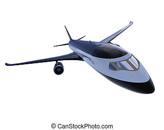 Black aircraft isolated view - isolated black airplane over...