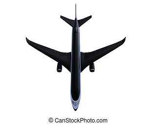 Black aircraft isolated view - isolated black airplane over ...