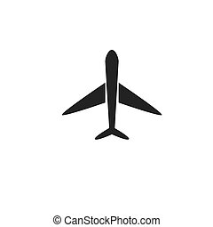Black airplane flat vector icon