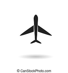 Black airplane flat vector icon with shadow