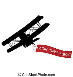 Black airplane silhouette with red banner