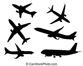 Black airplanes icon set