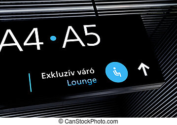 Black airport terminal sign with blue symbols