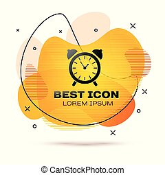 Black Alarm clock icon isolated on white background. Wake up, get up concept. Time sign. Fluid color banner. Vector Illustration