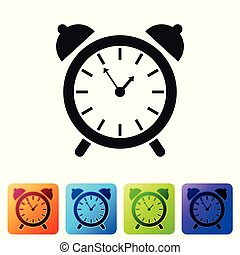 Black Alarm clock icon isolated on white background. Wake up, get up concept. Time sign. Set icon in color square buttons. Vector Illustration