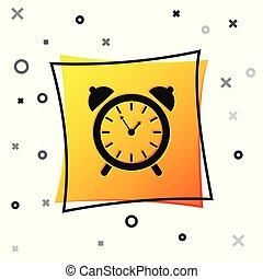 Black Alarm clock icon isolated on white background. Wake up, get up concept. Time sign. Yellow square button. Vector Illustration