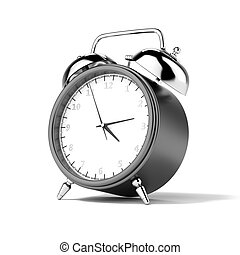 Black alarm clock isolated on a white background