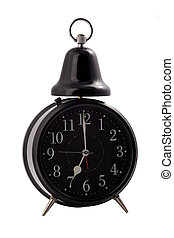 black alarm clock on a white background.