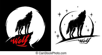 Black alpha male lone wolf vector illustration - Black alpha...