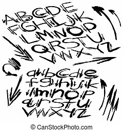 black alphabet font in graffiti style