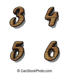 black alphabet letter set with wood on white