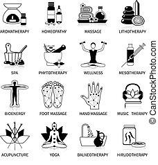 Black alternative medicine icons set of phytotherapy yoga bioenergy spa homeopathy symbols flat isolated vector illustration