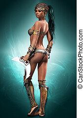 Black Amazon - portrait of a female Amazon warrior in...