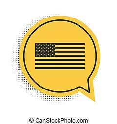 Black American flag icon isolated on white background. Flag of USA. Yellow speech bubble symbol. Vector