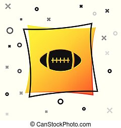 Black American Football ball icon isolated on white background. Yellow square button. Vector Illustration