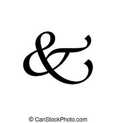 Black ampersand Hand writing symbol for banner, general ...