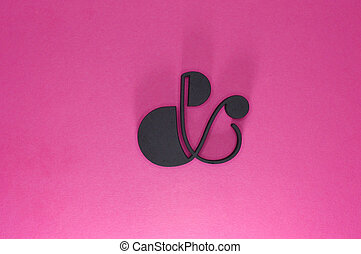 black ampersand whit thin lines on pink background