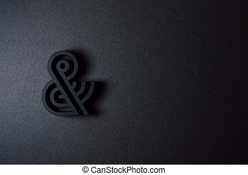 black ampersand with parallel lines on black background