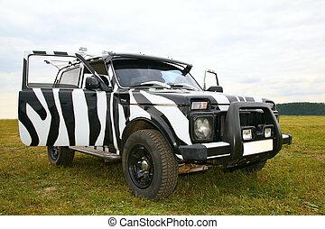Black an white off-road car