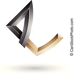 Black and Beige Embossed Letter E with Bended Joints Vector Illustration