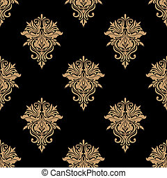 Black and beige floral seamless pattern
