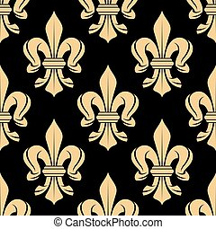 Black and beige royal seamless pattern