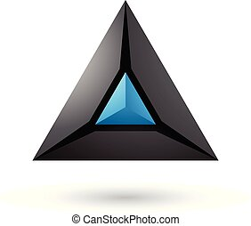 Black and Blue 3d Pyramid Icon Vector Illustration