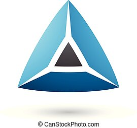 Black and Blue 3d Pyramidical Shape Vector Illustration