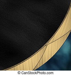 Black and blue background divided by a gold stripe. Design...