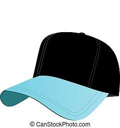Black and Blue Baseball Cap - A black and blue baseball cap ...