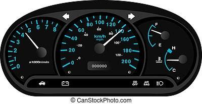 black and blue car dashboard with gauge illustration vector