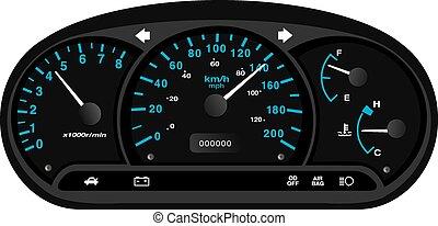 Black and blue car dashboard - black and blue car dashboard...