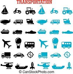 Black and blue flat transportation icons