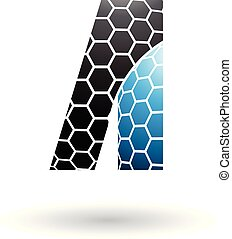 Black and Blue Letter A with Honeycomb Pattern Vector Illustration