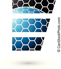 Black and Blue Letter E with Honeycomb Pattern Vector Illustration