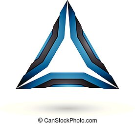 Black and Blue Mechanic Triangle Vector Illustration